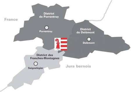 Carte du Jura - Les 3 districts