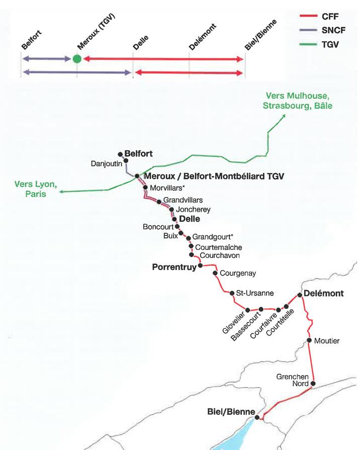 Plan du réseau Bienne-Belfort