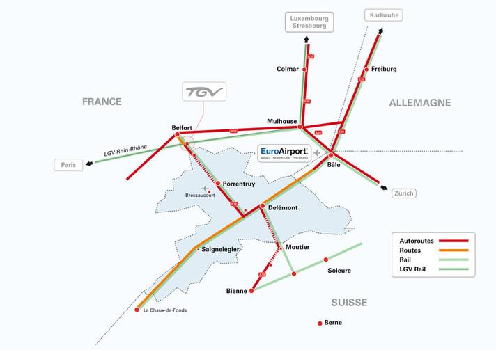 Carte des liaisons entre le Canton du Jura et la gare TGV